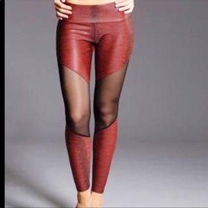 ONZIE Red Snakeskin Mesh Panel Leggings